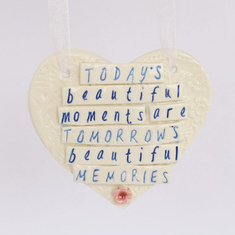 Today's Beautiful Moments Porcelain Hanging Heart - insideout-home