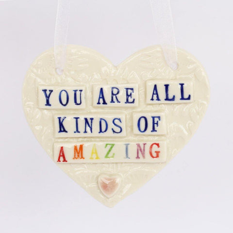 You Are Amazing Porcelain Hanging Heart - insideout-home