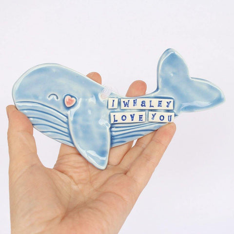 Porcelain Whale Hanging I Whaley Love You - insideout-home
