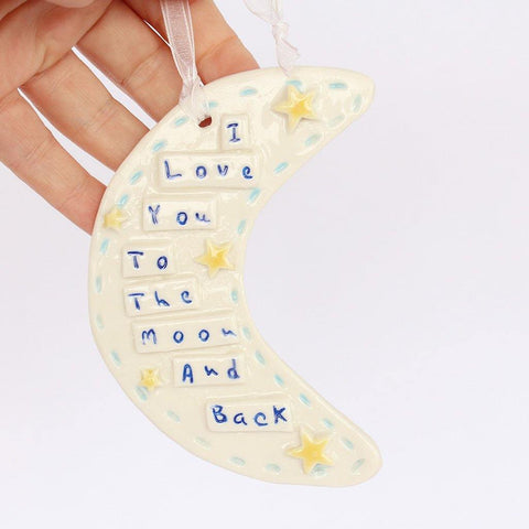 Moon And Back Porcelain Moon Hanging - insideout-home