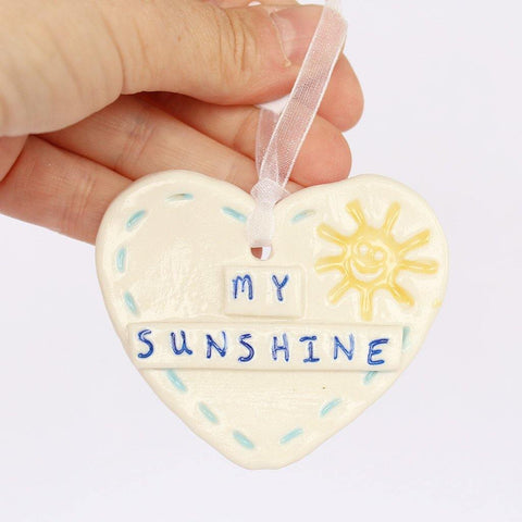 My Sunshine Small Porcelain Hanging Heart - insideout-home