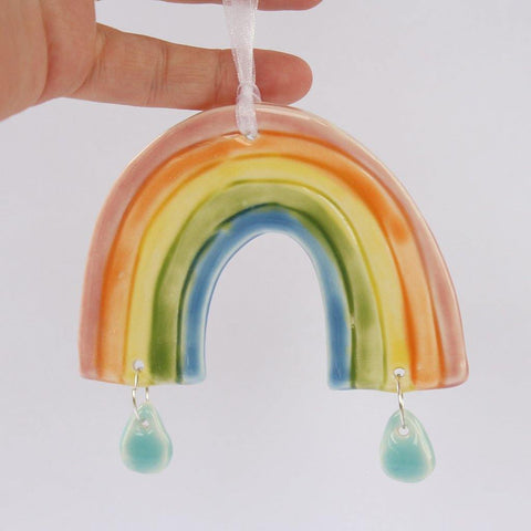 Rainbow And Raindrops Porcelain Hanging - insideout-home