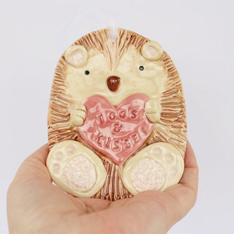 Hogs And Kisses Hedgehog Porcelain Hanging - insideout-home