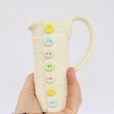 Embossed Small Porcelain Button Jug - insideout-home