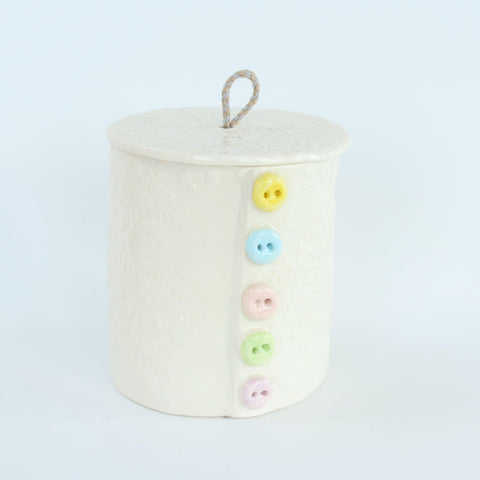 Button Detail Handmade Porcelain Lidded Pot - insideout-home
