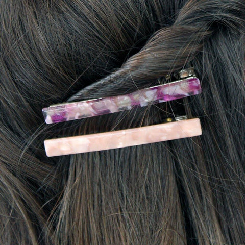Pack Of 2 Hair Slides Blush & Magenta