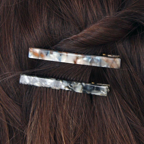 Pack Of 2 Hair Slides Black & Grey