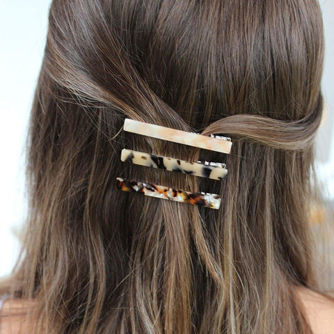 Pack Of 3 Hair Slides Taupes