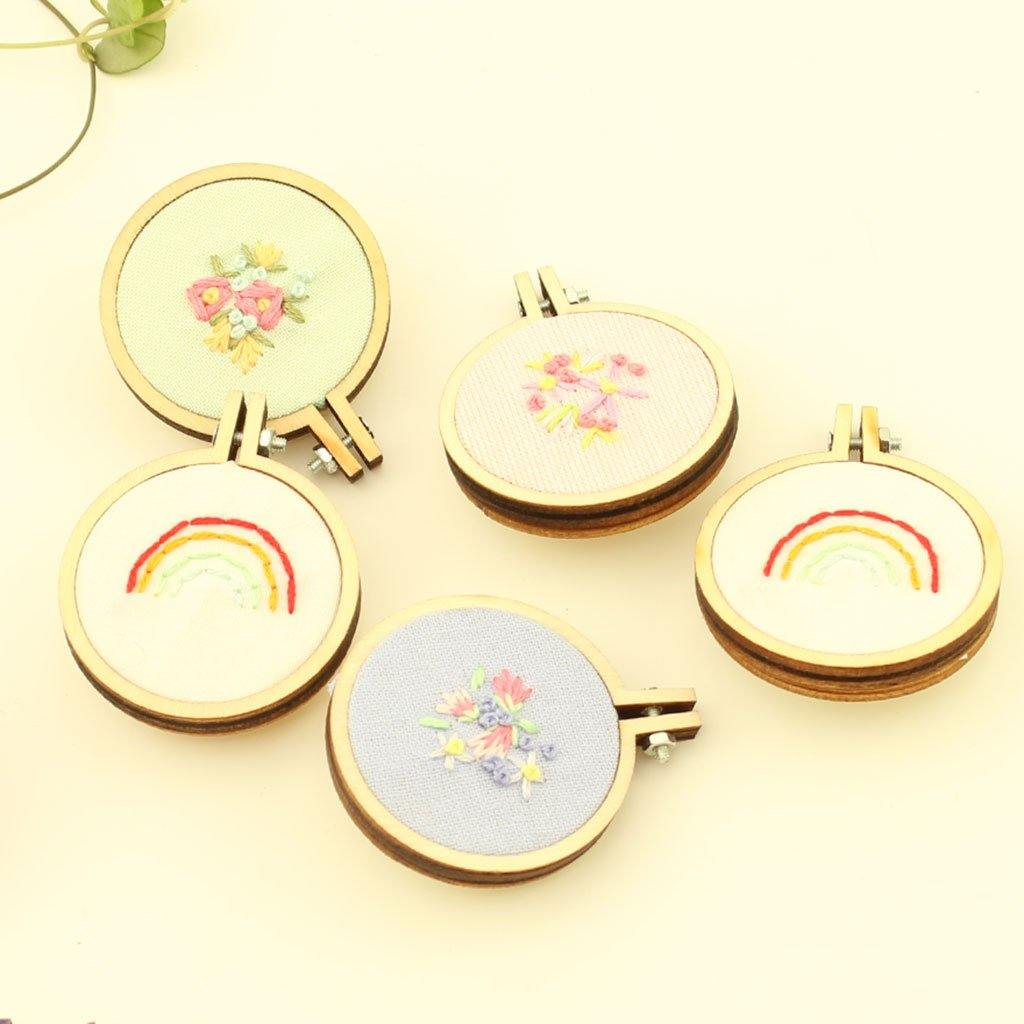 Mini Embroidered Hoop Brooch Handmade in Cornwall, Building Toys by Insideout