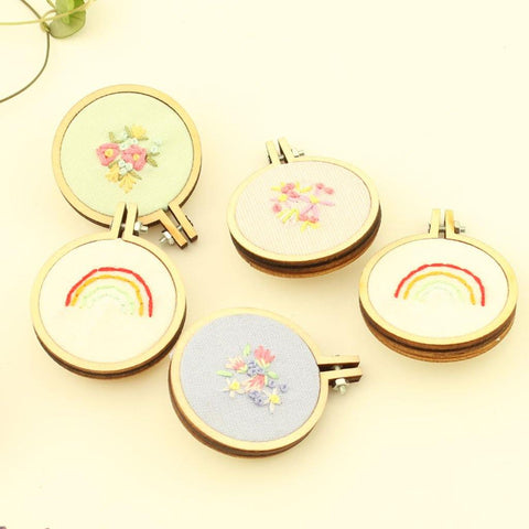 Mini Embroidered Hoop Brooch Handmade in Cornwall - insideout-home