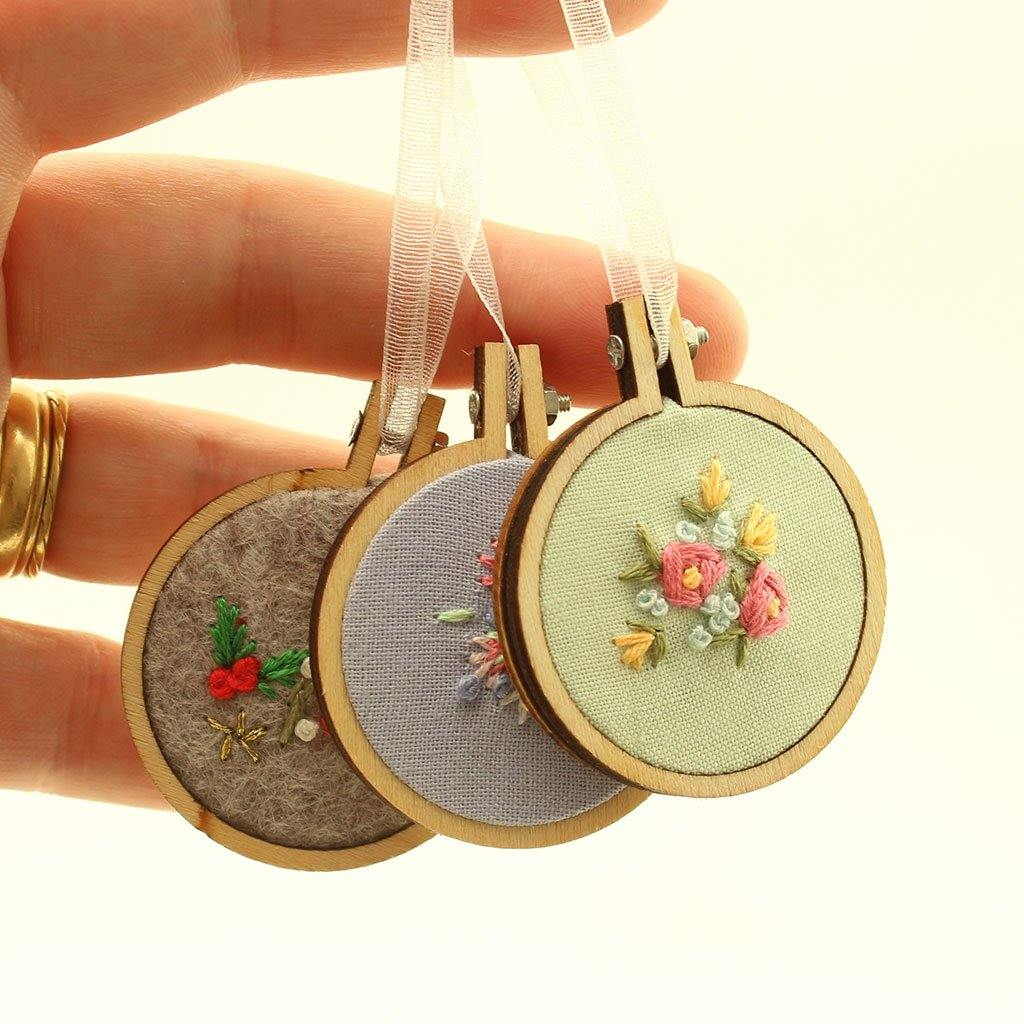 Mini Embroidered Hoop Hangings Handmade In Cornwall by  Insideout