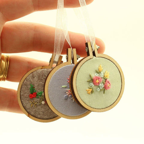 Mini Embroidered Hoop Hangings Handmade In Cornwall - insideout-home