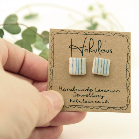 Square Ceramic Earrings Handpainted In Devon - insideout-home