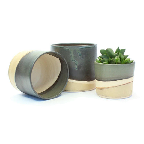 Handmade Ceramic Planters With Toasted Marshmallow Glaze - insideout-home