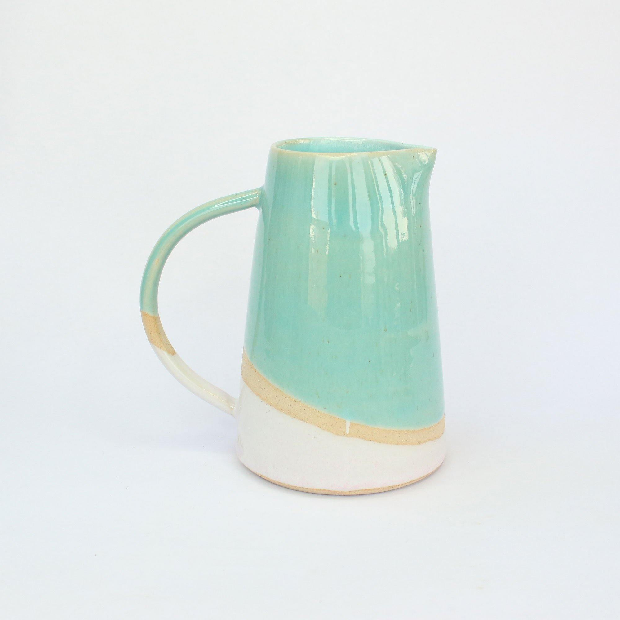 Turquoise and Pink Handmade Stoneware 500ml Jug by  Insideout