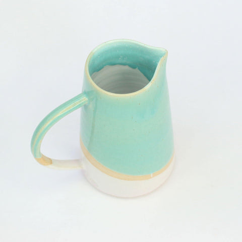 Turquoise and Pink Handmade Stoneware 500ml Jug - Insideout