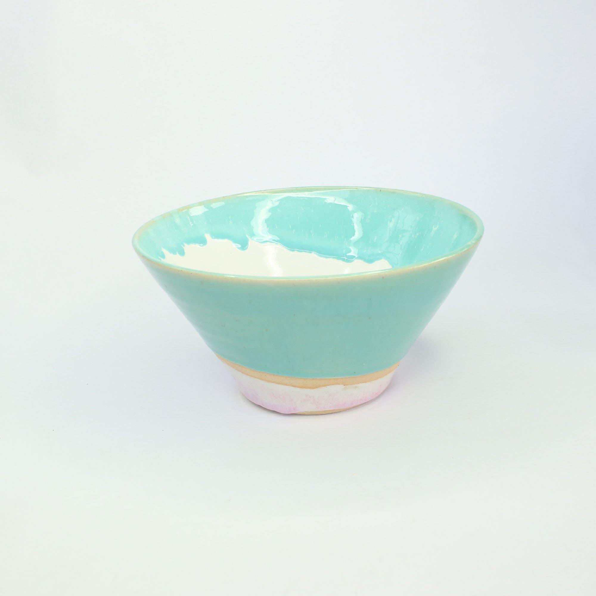 Serving Bowl Handmade With Pink & Turquoise Glaze by  Insideout