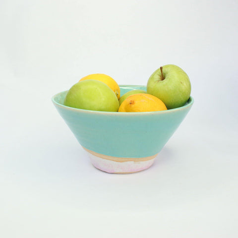 Serving Bowl Handmade With Pink & Turquoise Glaze - Insideout