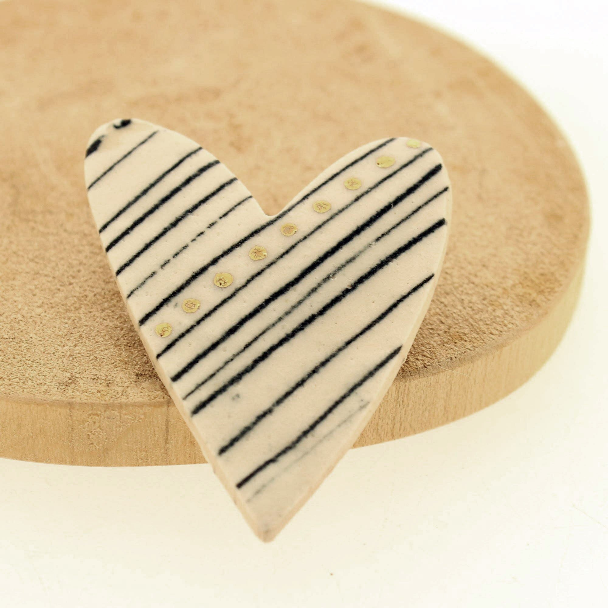 Gold Lustre Stripe Detail Ceramic Heart Brooch, Building Toys by Insideout