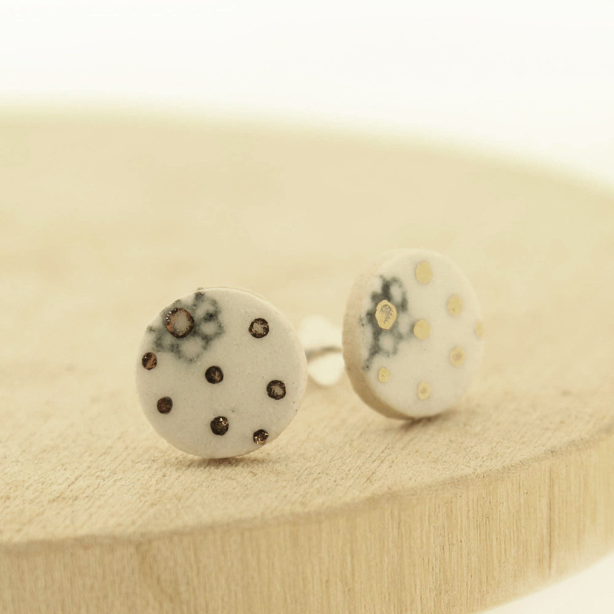Dotty Daisy Ceramic Studs With Gold Lustre by  Insideout