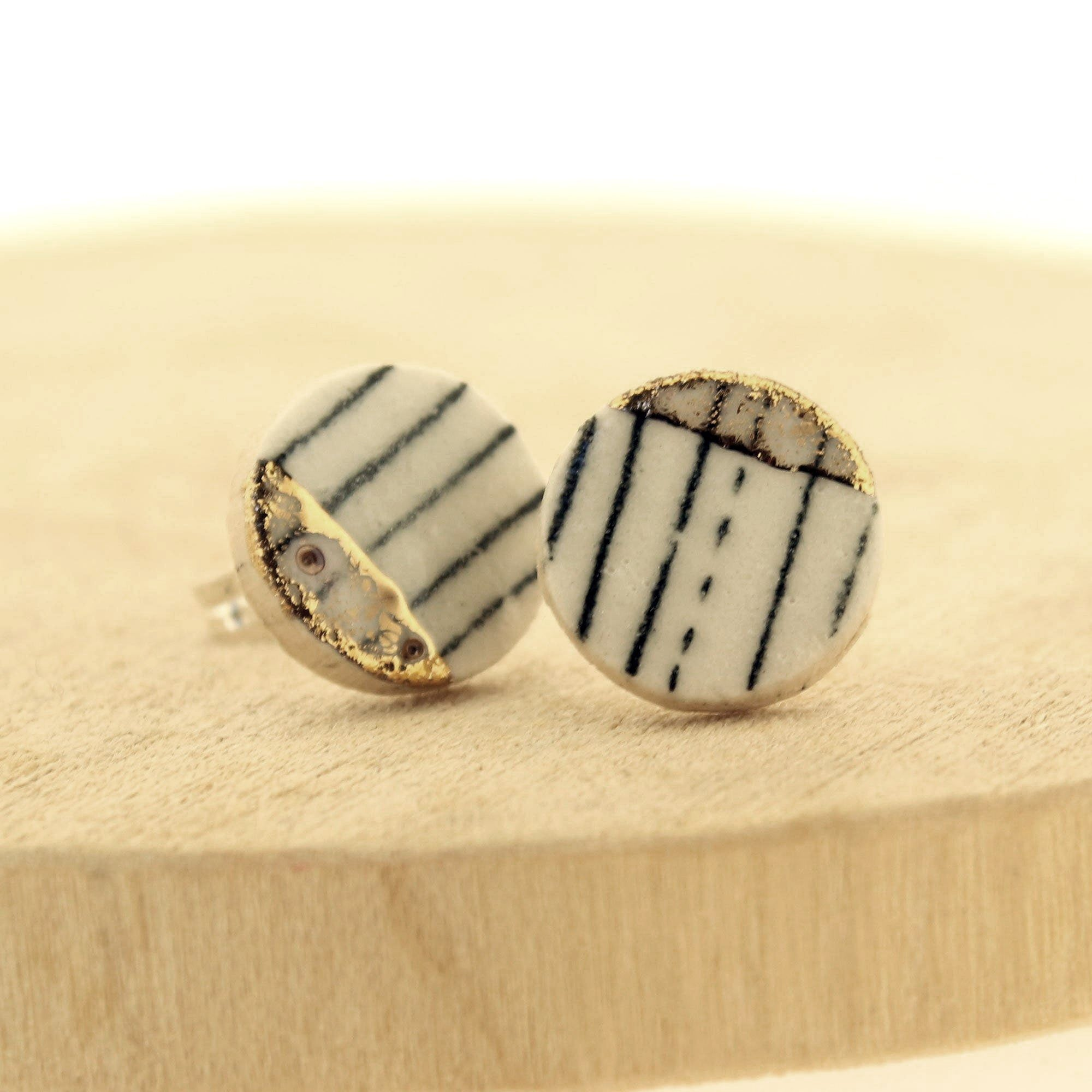 Monochrome Gold Lustre Ceramic Circle Stud Earrings by  Insideout