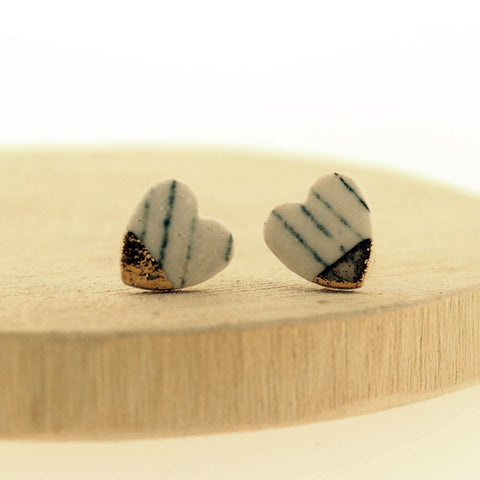 Monochrome Heart Ceramic Earrings - Insideout