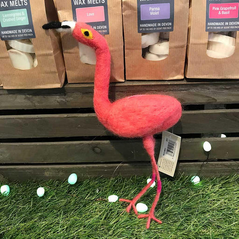 Pink Felt Flamingo Hanging - insideout-home
