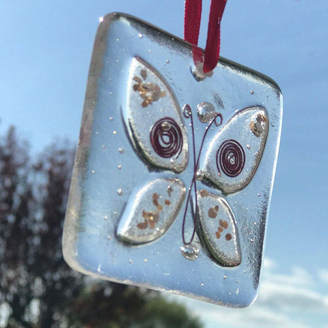 Handmade Butterfly Fused Glass Hanging - insideout-home