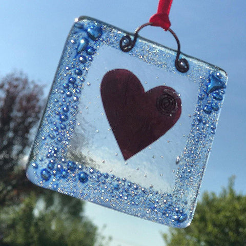 Handmade Framed Heart Fused Glass Hanging - insideout-home