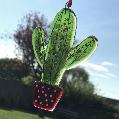 Cactus Fused Glass Hanging - insideout-home