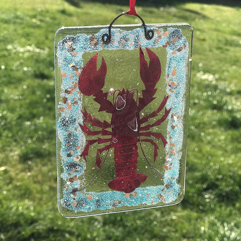 Handmade Lobster Fused Glass Hanging - insideout-home