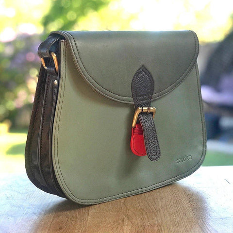 Soruka Upcycled Leather Bag Olive Green - insideout-home