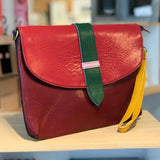 Soruka Upcycled Leather Bolso Clutch Bag Burgundy - insideout-home