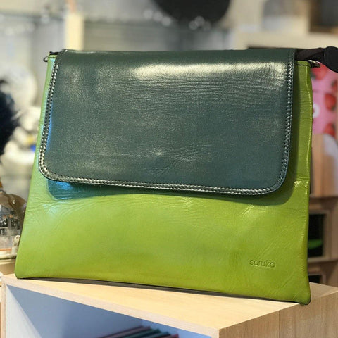 Soruka Upcycled Leather Yvette Bag Lime - insideout-home