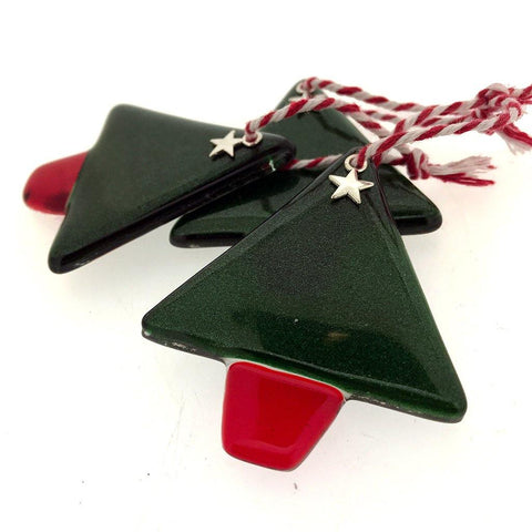 Adventurine Xmas Tree Fused Glass Hanging - insideout-home