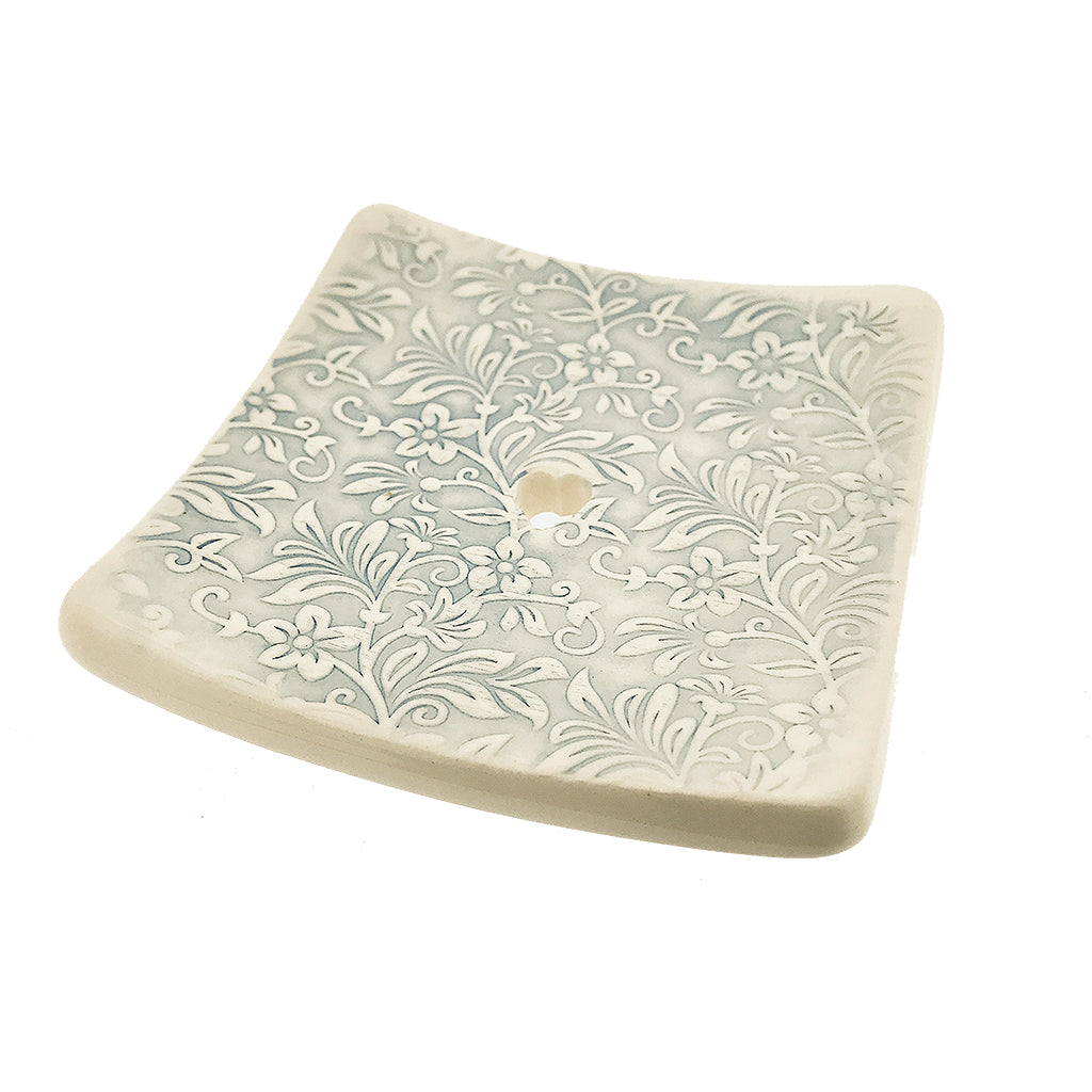 Square Soap Dish - Blue Floral by  Insideout