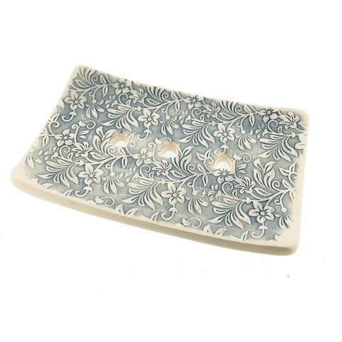 Rectangular Soap Dish - Blue Floral - insideout-home