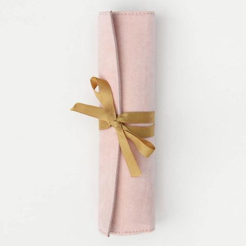 Pale Pink Velvet Travel Jewellery Roll - insideout-home