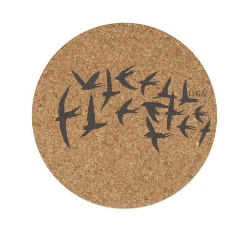 Cork Swallows Coaster Grey - insideout-home