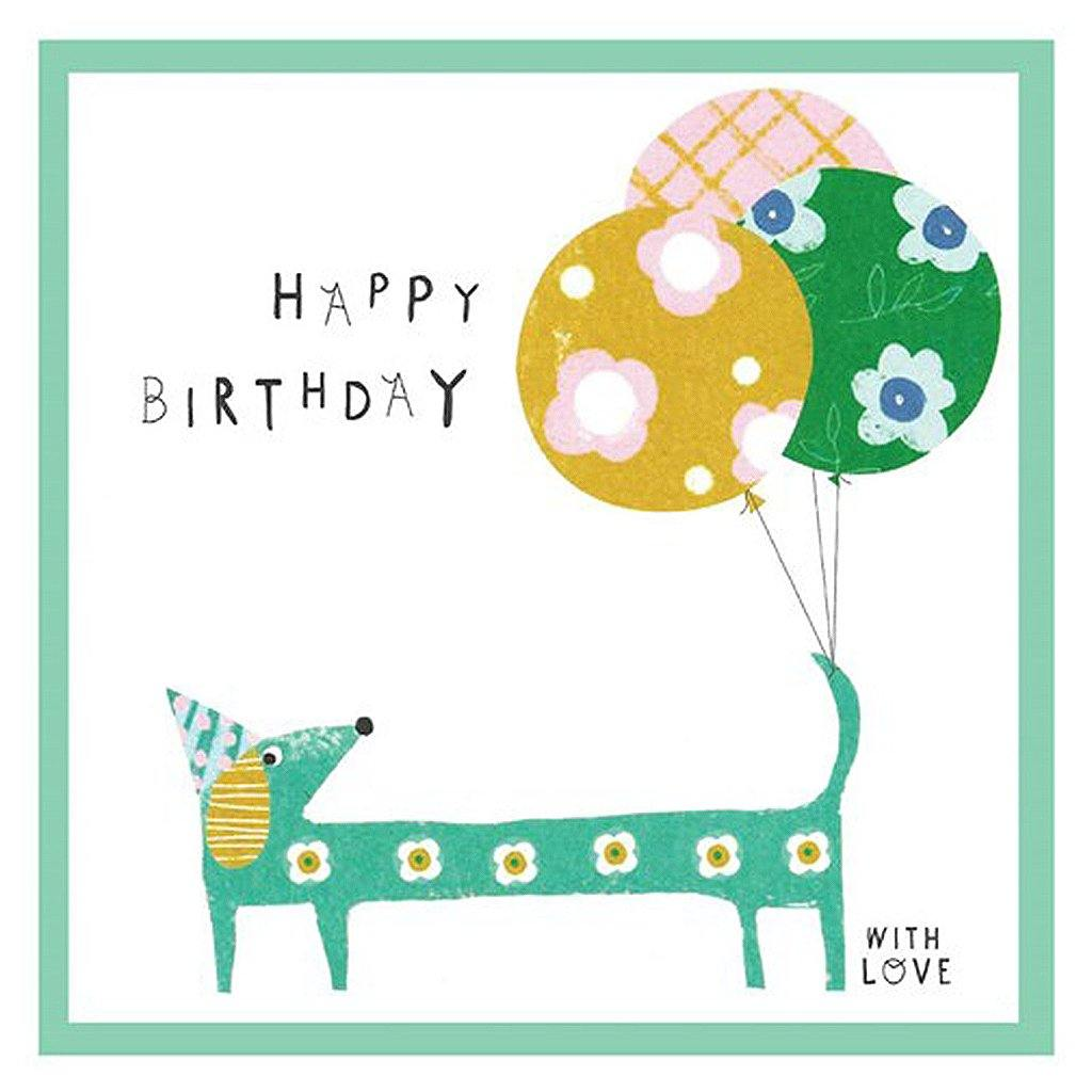 Happy Birthday With Love Sausage Dog Card, Party & Celebration by Insideout