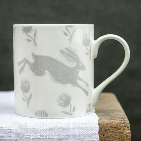 Running Hare Grey Pattern Mug - insideout-home