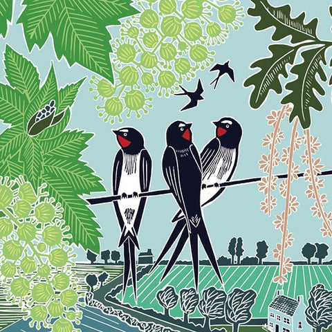 Swallows On A Line Card - insideout-home