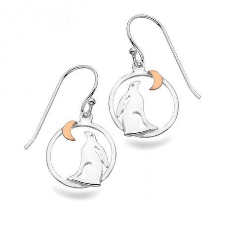 Sterling Silver Hare And Crescent Moon Hook Earrings
