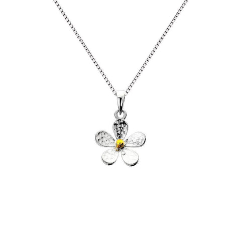 Hammered Sterling Silver And Brass Daisy Pendant Necklace - insideout-home
