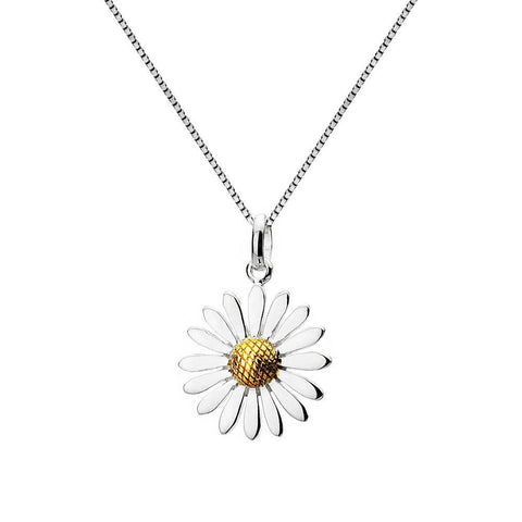 Large Sterling Silver And Brass Daisy Pendant Necklace - insideout-home