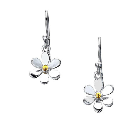 Sterling Silver Daisy Hook Earrings
