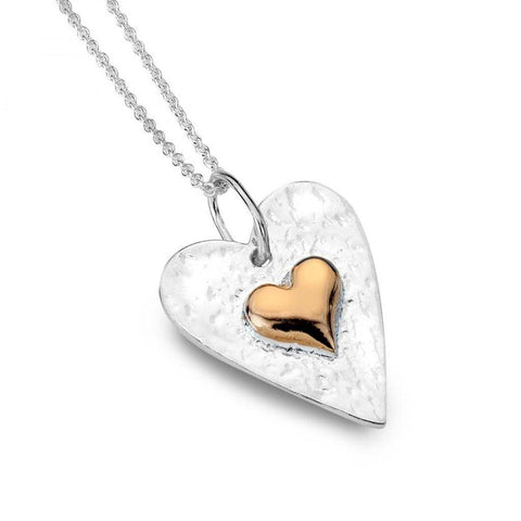 Hammered Sterling Silver And Rose Gold Plate Heart Pendant Necklace - insideout-home