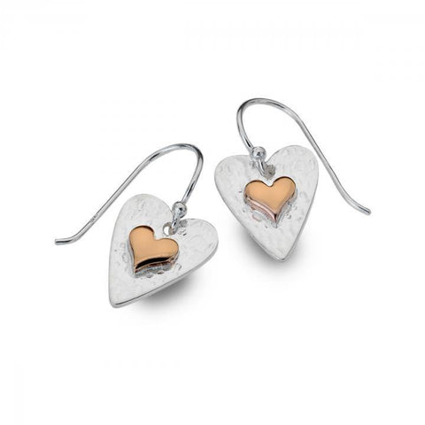 Sterling Silver Heart Earrings With Rose Gold Plated Heart 1950