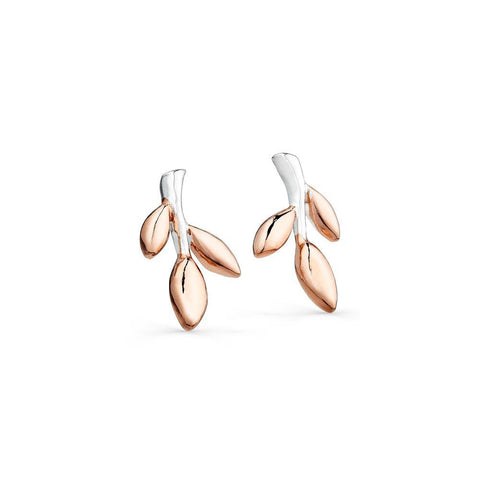 Sterling Silver and Gold Plated Leaves Stud Earrings - insideout-home