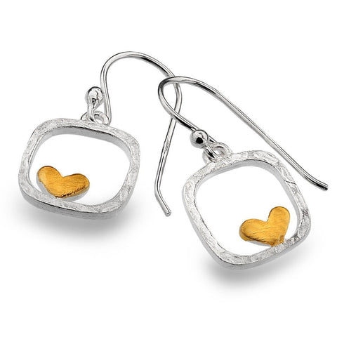 Textured Silver Frame with Heart Hook Earrings P2747